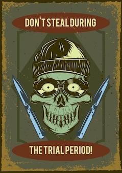 Vintage plakat z ilustracją przedstawiającą czaszkę złodzieja z wytrychami