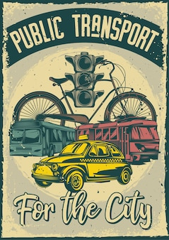 Vintage plakat z ilustracją transportu publicznego