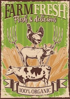 Vintage plakat z ilustracją zwierząt gospodarskich stojących na sobie