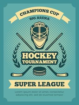 Vintage plakat z mistrzostw w hokeju. banner hokej gra, ilustracja turnieju konkurencji