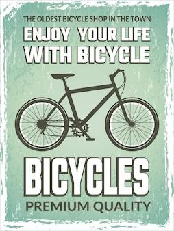 Vintage plakat z monochromatyczną ilustracją roweru.