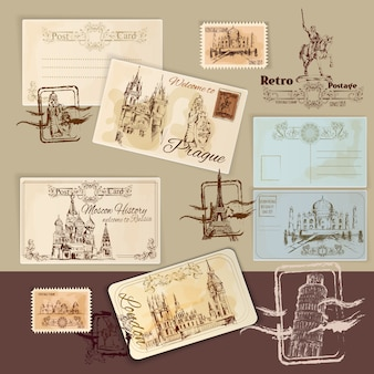 Vintage pocztówki szablon