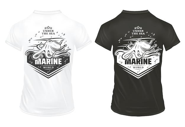 Vintage podwodne życie morskie drukuje szablon z napisem bąbelki ośmiornicy i fale na koszulkach na białym tle