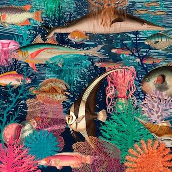Vintage podwodny wzór tła, zremiksowany z dzieł z domeny publicznej