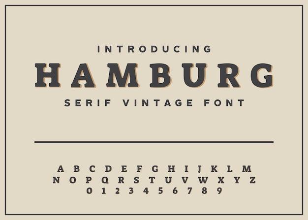 Vintage pogrubiona czcionka szeryfowa alfabet i numer