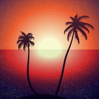 Vintage Pojęcie Zachód Słońca W Tropikalnej Plaży Naklejki, Plakat, T-shirt, Druk. Premium Wektorów