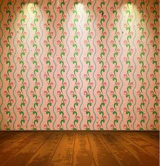 Vintage pokój z tapetą z motywem kwiatowym
