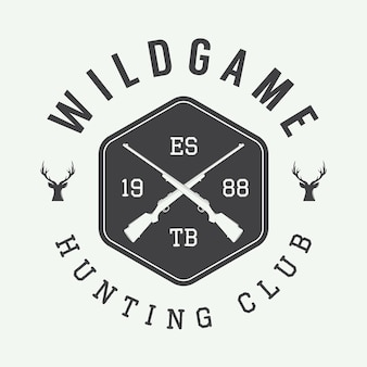 Vintage polowanie etykieta, logo lub odznaka i elementy projektu. ilustracja wektorowa