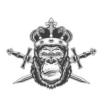 Vintage poważna głowa goryla w koronie
