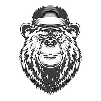 Vintage poważny dżentelmen niedźwiedzia głowa