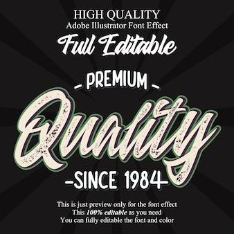 Vintage premium skrypt jakości edytowalny efekt czcionki typografii