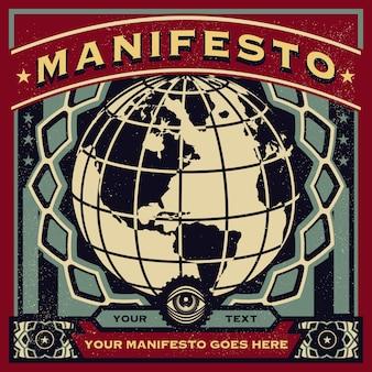 Vintage propaganda nowego zamówienia na plakat i elementy świata