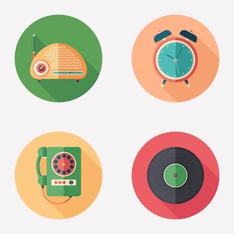 Vintage przedmioty płaskie okrągłe zestaw ikon.