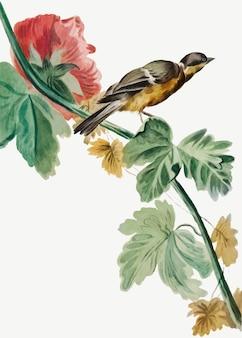 Vintage ptak na ilustracji gałąź kwiat