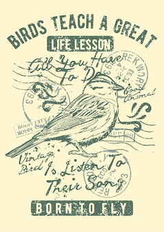 Vintage Ptak, Plakat Vintage Ilustracji. Premium Wektorów