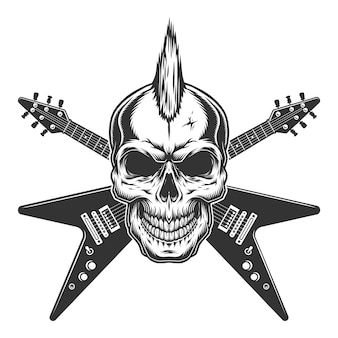 Vintage punk rock star skull