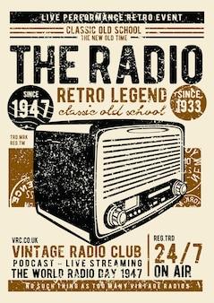 Vintage radio, plakat vintage ilustracji.