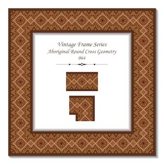 Vintage rama 3d aborygeńskiej okrągłej geometrii krzyża