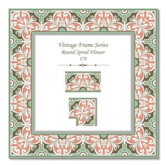 Vintage rama 3d elegancki zielony różowy okrągły spiralny kwiat