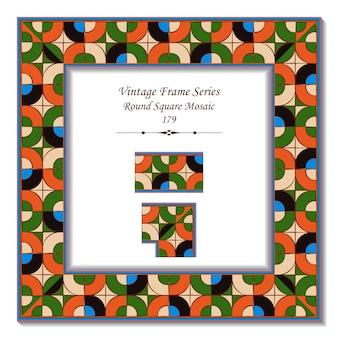 Vintage rama 3d pop art okrągły narożnik mozaika kwadratowa krzyż