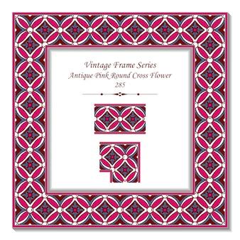 Vintage rama 3d z antycznego różowego okrągłego kwiatu krzyżowego