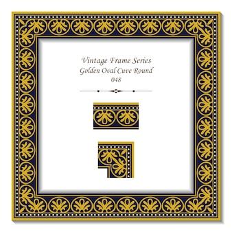 Vintage rama 3d z okrągłej krzywej owalnej złotej