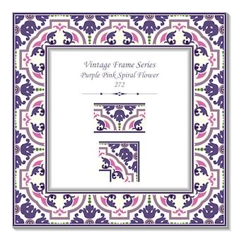 Vintage ramka 3d fioletowy kwiat różowy spirala krzyż