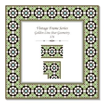 Vintage ramka 3d islamskiej geometrii gwiazdy golden line
