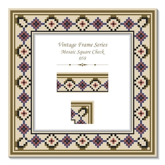 Vintage ramka 3d mozaiki kwadratowej czeku
