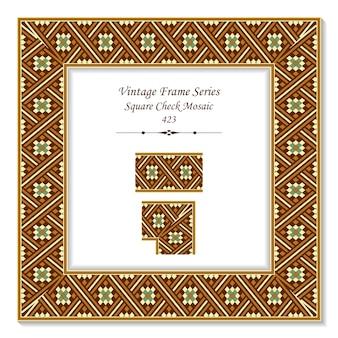 Vintage ramka 3d z kwadratowej kratki mozaiki w kształcie krzyża