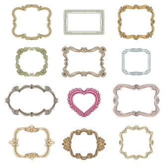 Vintage ramki dekoracyjne. element dekoracji, ozdobne ramki ozdobne na ślub, vintage ramki zestaw ilustracji wektorowych