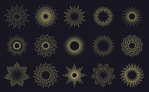 Vintage ramki sunburst. promienne linie słońca, ręcznie rysowane odznaki, fajerwerki iskrzą promienie. zestaw ikon rozbłysk gwiazdy promienistej. ręcznie rysowane odznaka ilustracja promiennego słońca