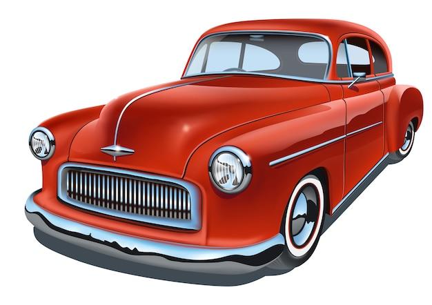 Vintage realistyczny klasyczny samochód. na białym tle