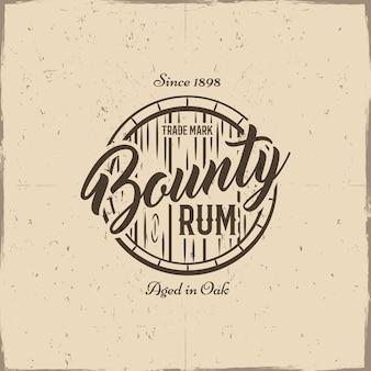 Vintage ręcznie robiona etykieta, emblemat ze starą beczką - bounty rum.