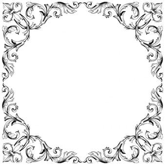 Vintage ręcznie rysowane element wiktoriański lub adamaszku kwiatowy. czarno-biały grawerowany atrament.