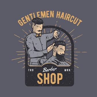 Vintage ręcznie rysowane fryzjera z efektem grunge i gwiazdą w tle