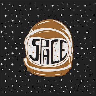 Vintage ręcznie rysowane hełm astronauty z niestandardowymi tekstami - przestrzeń.