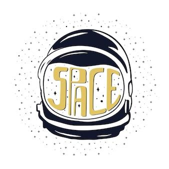 Vintage Ręcznie Rysowane Hełm Astronauty Premium Wektorów