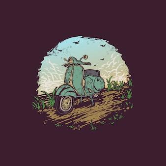 Vintage ręcznie rysowane ilustracja skuter rower