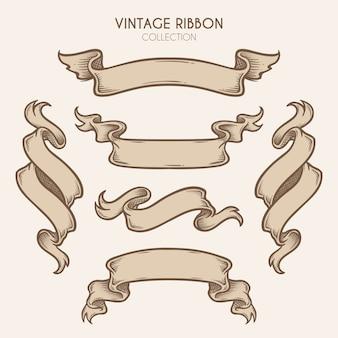 Vintage ręcznie rysowane kolekcji wstążki