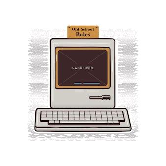 Vintage ręcznie rysowane komputer osobisty z klawiaturą. stary klasyczny komputer ze znakiem - old school rules.