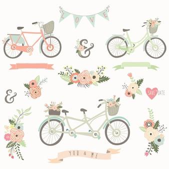Vintage ręcznie rysowane kwiatowy rower