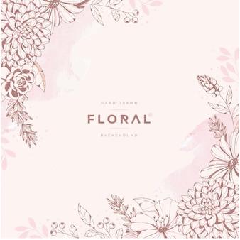 Vintage ręcznie rysowane kwiatowy tło