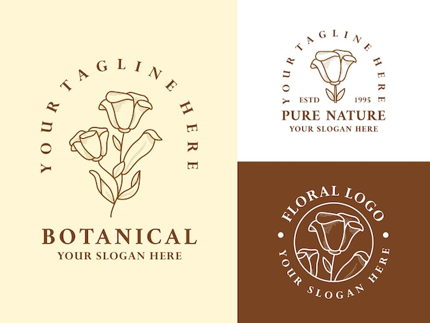 Vintage ręcznie rysowane liść botaniczny logo ilustracja projekt zestaw dla urody naturalnej ekologicznej marki