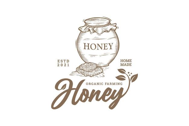 Vintage ręcznie rysowane logo rolnictwa ekologicznego miodu