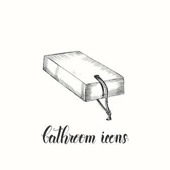 Vintage ręcznie rysowane mydło. ikony łazienki. naszkicować.