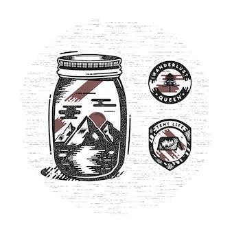 Vintage Ręcznie Rysowane Odznaki Kempingowe Premium Wektorów