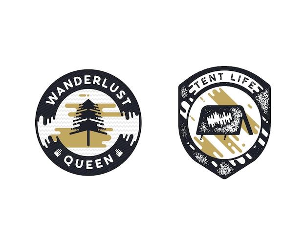 Vintage Ręcznie Rysowane Odznaki Wanderlust Premium Wektorów