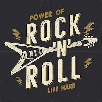 Vintage ręcznie rysowane plakat rock n roll