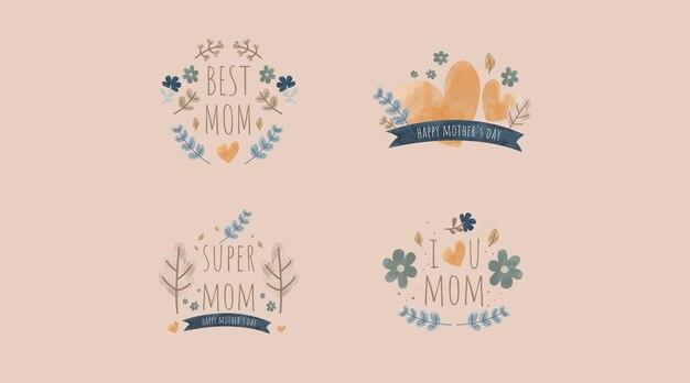 Vintage ręcznie rysowane projekt kolekcji etykiet na dzień matki